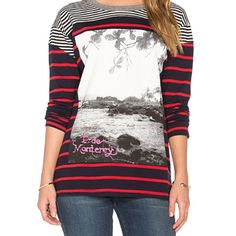 NSF Lupe Long Sleeve Striped top, 100% cotton, contrasting panels. Worn once. Fabric is thicker than a normal txt, but not quite like a sweatshirt. NSF Tops Tees - Long Sleeve