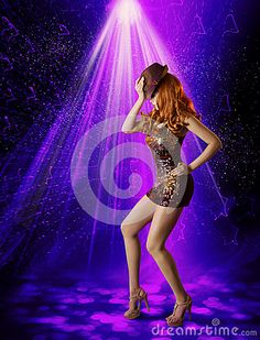 Nightclub Dancing Girl, Woman Artist in Night Club, Dancer Posing in Hat Shine Mini Dress, Laser Lighting Illumination
