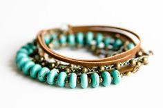 Boho Mixed Media Wrap Bracelet / Long Necklace; Crochet Beaded; Suede Leather; Turquoise Magnesite Gemstone & Brass Beads; Bohemian Jewelry by NUBE Handmade Jewelry on Etsy