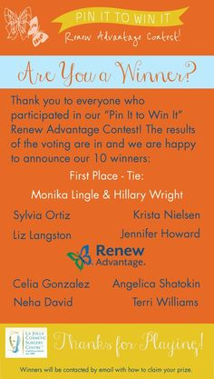 Drummmmmroll pleeeeeeeeease! We're *so excited* to announce the winners of our Pin It to Win It Renew Advantage Contest! All of the entries were fab and we thank each of you to taking the time to put together such amazing boards about what renewal means to you. Stay tuned for our next Pinterest contest... and until then, glam gals, check your in-boxes for how to claim your prize! Stay Tuned, Boxes, Amazing, Check, Crates, Box, Cases, Boxing