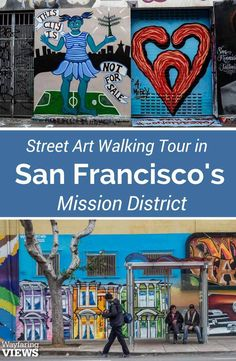 San Francisco& Mission District has street art that tells the story of the city. See great graffiti and murals on this San Francisco California walking tour San Francisco Tours, San Francisco Travel, San Francisco California, Mission District San Francisco, California Travel, Northern California, Banksy, Graffiti, Street Mural