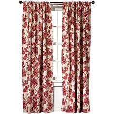 Target Home™ Farrah Floral Window Panel Might look good in the living room layered with solid red or red plaid curtains
