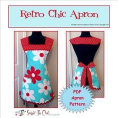 PDF APRON PATTERN 50s Style Woman's Full Apron by SugarPieChic, $8.00