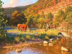 Double the Blessing by Mark Keathley ~ cow after birthing two calves cowboy dogs horse