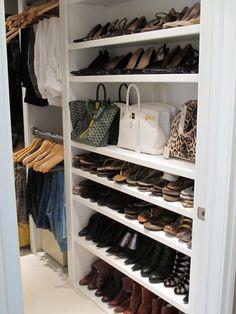 Closet organization. Closet design. Closet storage. Shoe Storage. Shelves for shoe display. #closetdesign #closetorganization    |  Dresner Design:  Kitchen design & custom cabinetry.  #ModernKitchen #KitchenDesign #DresnerDesign #DesignInspiration   www.dresnerdesign.com