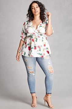 Cool Girl Summer Outfits Plus Size Satin Floral Top... Check more at http://24store.ml/fashion/girl-summer-outfits-plus-size-satin-floral-top/