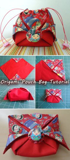 How To Make An Origami Drawstring Bag Origami Bag, Fabric Origami, Diy Origami, Origami Tutorial, Diy Tutorial, Purse Tutorial, Origami Ideas, Tutorial Sewing, Bag Patterns To Sew