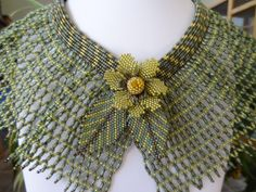 Size Large, Moss Greens and Brown Hematite Netted Collar with Flower and Leaves