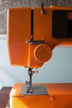 vintage orange sewing machine from hamburg flohmarkt