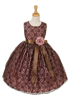 3c996b615 Cinderella Couturebrown lace dress with satin ribbon sash and flower  corsage BrownRose 14 ** Want
