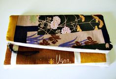 Foldover clutch/ Linen/ color block/ rare vintage by luluxo