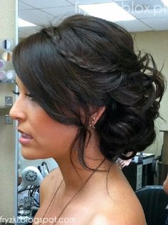 long layer down, the rest up. With Braid and bump it.    This is one of two that's closest to the overall look she wants.