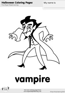 Free vampire coloring page from Super Simple Learning. Tons of Halloween worksheets, flashcards, and crafts at www.supersimplelearning.com/resource-room. #kindergarten #preK #ESL