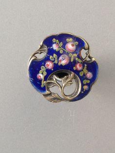 Antique Pierced French Enamel Button Great Scalloped Shape, Vibrant Colors & BM