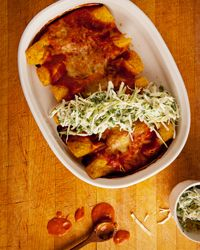 Chicken, Cheese and Mushroom Enchiladas with Sour Cream Slaw Recipe on Food & Wine