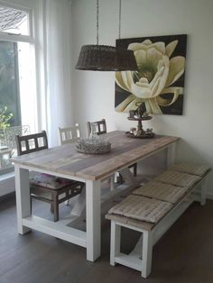 Table and chairs with bench. Dinning Table, Table And Chairs, Table Bench, Dining Room, Pallet Furniture, Home Furniture, Home Living Room, Home Projects, Kitchen Decor