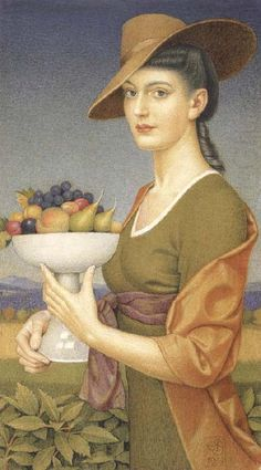 A Dish of Fruit by Joseph Edward Southall (English, 1861–1944). Associated with the Arts and Crafts movement. Watercolour over pencil