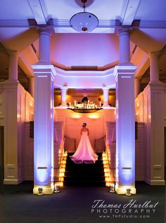 phenomenal uplighting: flatters the magnificence of the architecture as well as the beauty of the bride