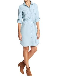 Old Navy   Women's Chambray Belted Shirt Dress   $12.97 on sale