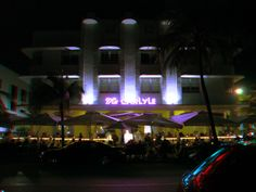 """Buildings of Ocean Drive at night - Google """"anaglyph glasses"""" to view in 3D!"""