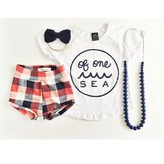"""The FIRST """"little nugget"""" Shop on Instagram: """"Love this nautical looking outfit that includes our plaid shorties! (Only 1 or 2 pair left on Etsy!) Tap photo for details!"""""""