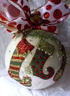 Christmas Stocking Ornament by KARCREATIONS on Etsy, $40.00