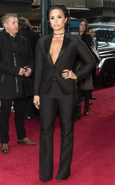 Demi Lovato shirtless tuxedo suit - Celebrity style hits and misses for December 2015