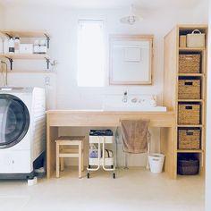 Bathroom/照明/IKEA/洗面所/ニトリ/お気に入りの場所...などのインテリア実例 - 2018-05-27 20:53:52 | RoomClip (ルームクリップ) Ikea 2018, Laundry Room Design, Japanese House, Washroom, Powder Room, New Homes, Home Appliances, Storage, Interior