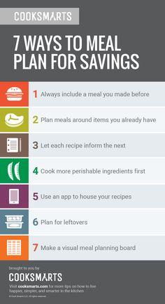 7 Ways to Meal Plan for Savings via @cooksmarts #ReduceFoodWaste #EarthMonth #mealplan