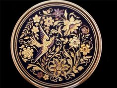 Mint 18K Gold Gilded Damascene Toledo Spain Vanity Mirror Enamel Compact Vintage | eBay