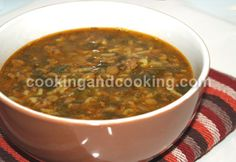 Ashe Berenj (Rice Soup with Ground Beef and Lentils)