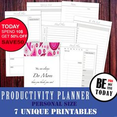 PERSONAL Inserts Personal Size, Productivity Planner Bundle, Daily, Weekly Planner, Meal Planner, Filofax Personal, Filofax Compact, Kikki K