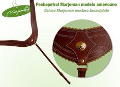 Pechopetral modelo americano fabricado por Marjoman. En cuero de primera calidad (negro, marrón o avellana) Deluxe western breastplate manufactured by Marjoman