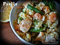 Bucataria Stefaniei: Paella cu pui si creveti Paella, Viera, Pasta Salad, Potato Salad, Potatoes, Cooking Recipes, Meat, Chicken, Dinner