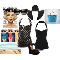 retro swim, created by #chrissyvayne on #polyvore. #fashion #style Esther Williams Norma Kamali