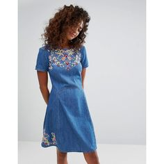 Espirit Floral Embroidered Denim Skater Dress (112 CAD) ❤ liked on Polyvore featuring dresses, blue, floral embroidered dress, blue skater dresses, blue fit-and-flare dresses, fit flare dress and blue jersey