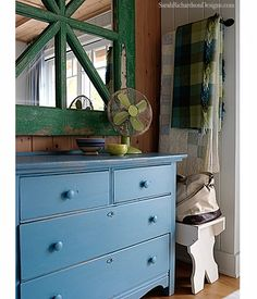 Sarah_Richardson_Designs_Green_Mirror_Blue_Dresser_Guest_Room - You can't go wrong with sarah's work! She's amazingly talented and creative! She would be my # 1 designer if I could afford one! LOL! SHB
