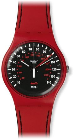 Swatch SUOR104 Red Brake Black White Dial Silicone Rubber Band Unisex Watch NEW >>> For more information, visit image link.