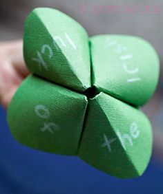 fun shamrock 'cootie catcher' with embedded surprises... clever clover!