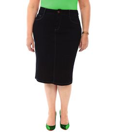 Black Five-Pocket Pencil Skirt - Plus Too