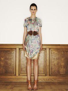 Rützou silk blouse in dust brown print and silk skirt in dust brown print
