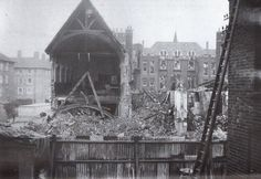 Bombed out ruins of St Cuthburt's church. Vintage London, Old London, Isle Of Dogs, London Pictures, 12th Century, Brooklyn Bridge, Ww2, Britain, England