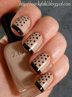 Nude & Black polka dot nails.