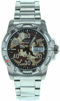 Seiko Men's SRP221 Stainless Steel Analog with Brown Dial Watch | WatchCorridor