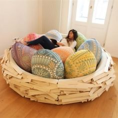Unique, soft, comfortable and relaxing are the words that define the 'nest' designed by OGE Creative Group/ Israel, a successful fusion between furniture and playground.