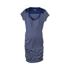 Staple item for 3rd Trimester. Blue Striped (VERY form fitting) dress