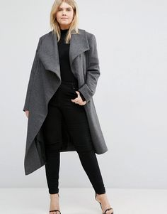 Image 4 of ASOS CURVE Waterfall Trapeze Coat