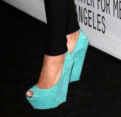 Turquoise Peep Toe Wedge