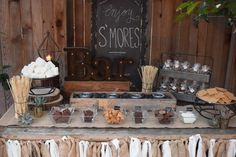 Rustic S'mores Bar | CatchMyParty.com