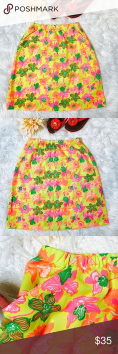 "Vintage Lilly Pulitzer Floral Skirt The Lilly! Perfect for that retro Palm Beach look you want for the resort season or summer in Nantucket. What it is: Classic vintage 1960s into 1970s Lilly Pulitzer mod floral print skirt in rich and summery shades of green, yellow, orange, and white, a fabulous look for this summer. Excellent condition (like new). Laid flat across @ Waist: 13"" (when it laid flat stretched 17""), Length: 21"". Lilly Pulitzer Skirts Mini"